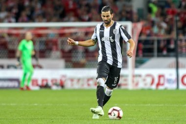 Moscow, Russia - August 14, 2018: Player of PAOK Jose Angel Crespo in action during the UEFA Champions League Third qualifying round, between FC Spartak vs PAOK at Otkritie Arena