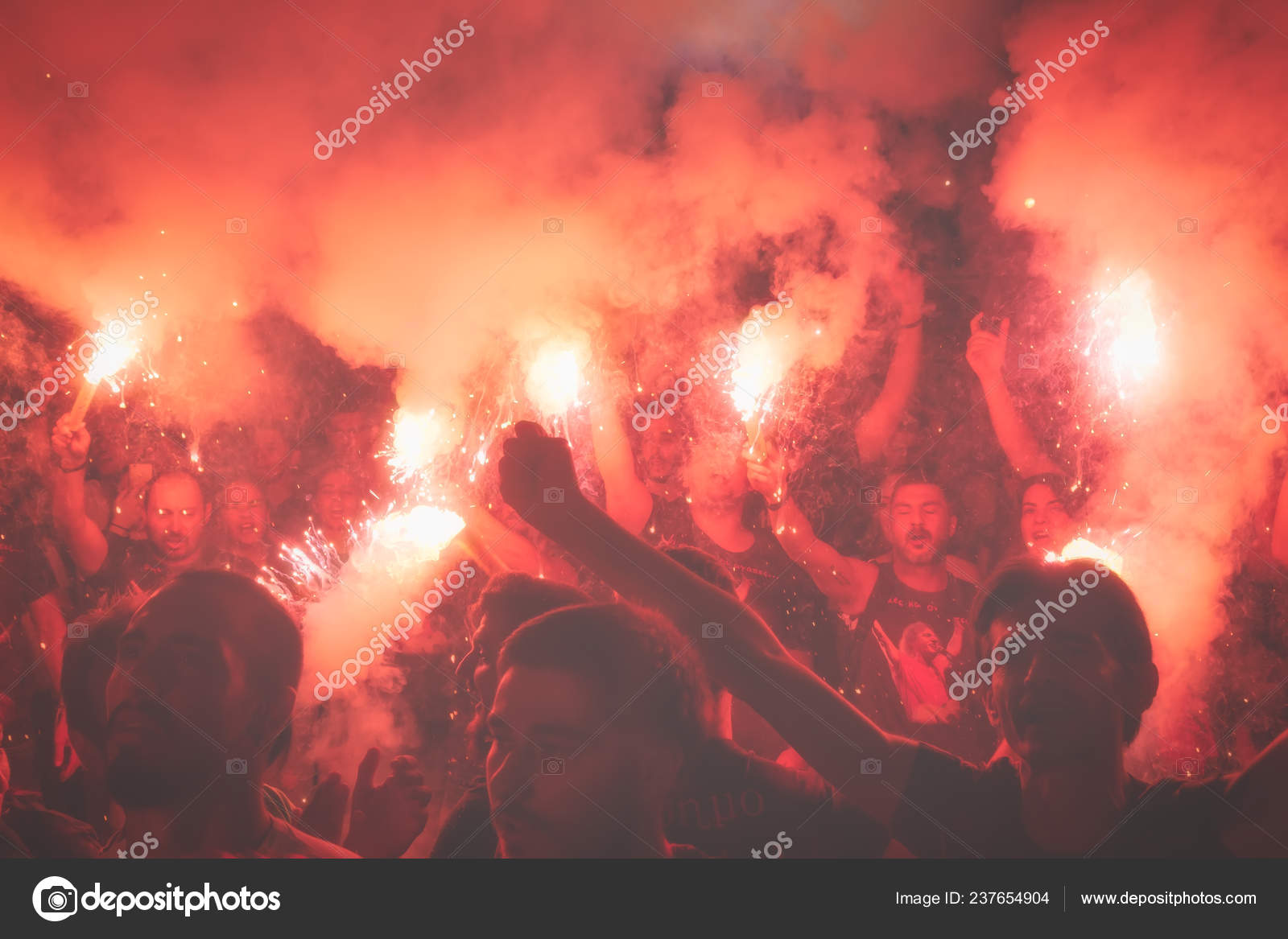 Thessaloniki Greece September 2018 Music Fans Burn Fire