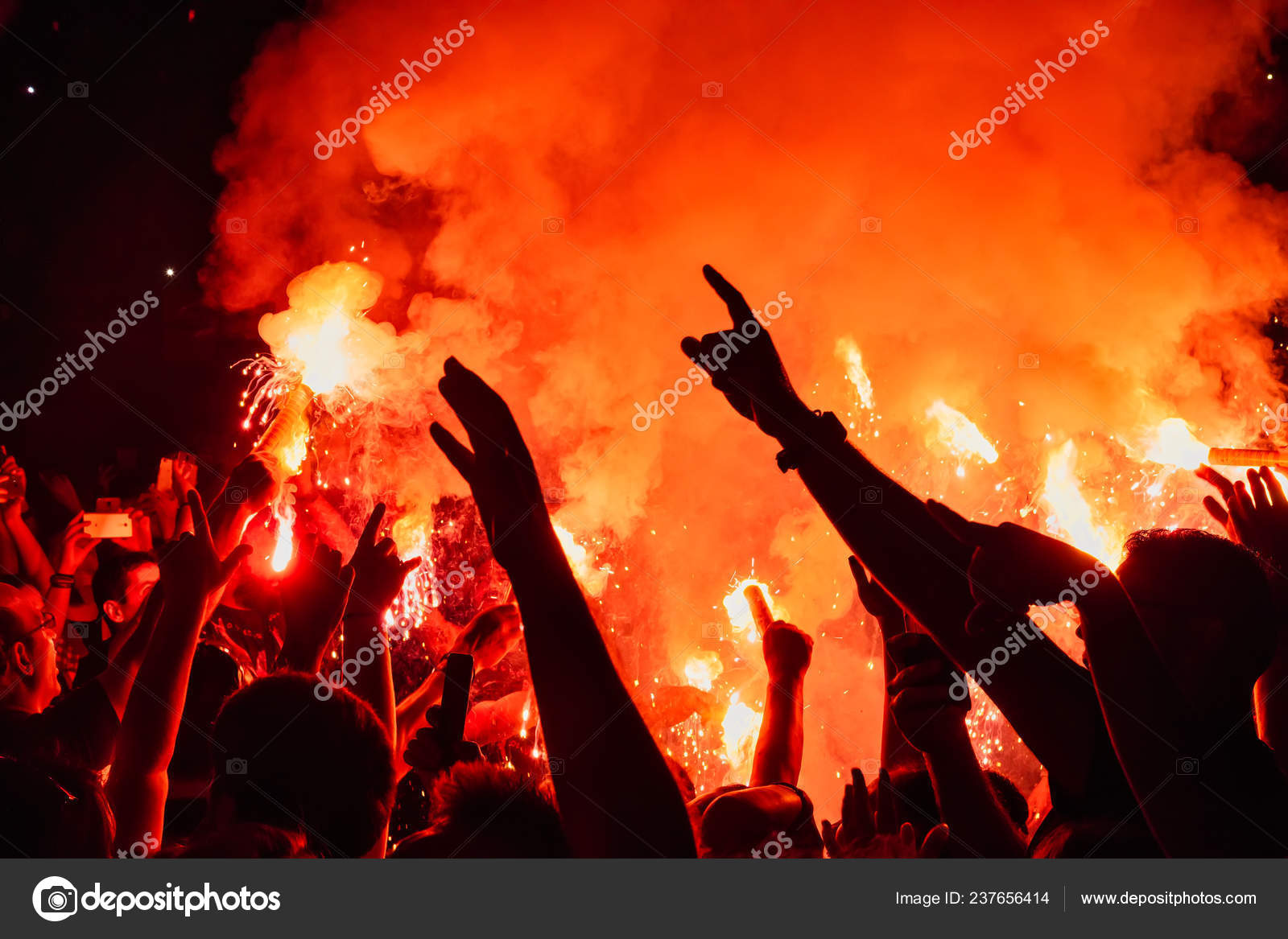 Thessaloniki Greece September 2018 Music Fans Burn Fire