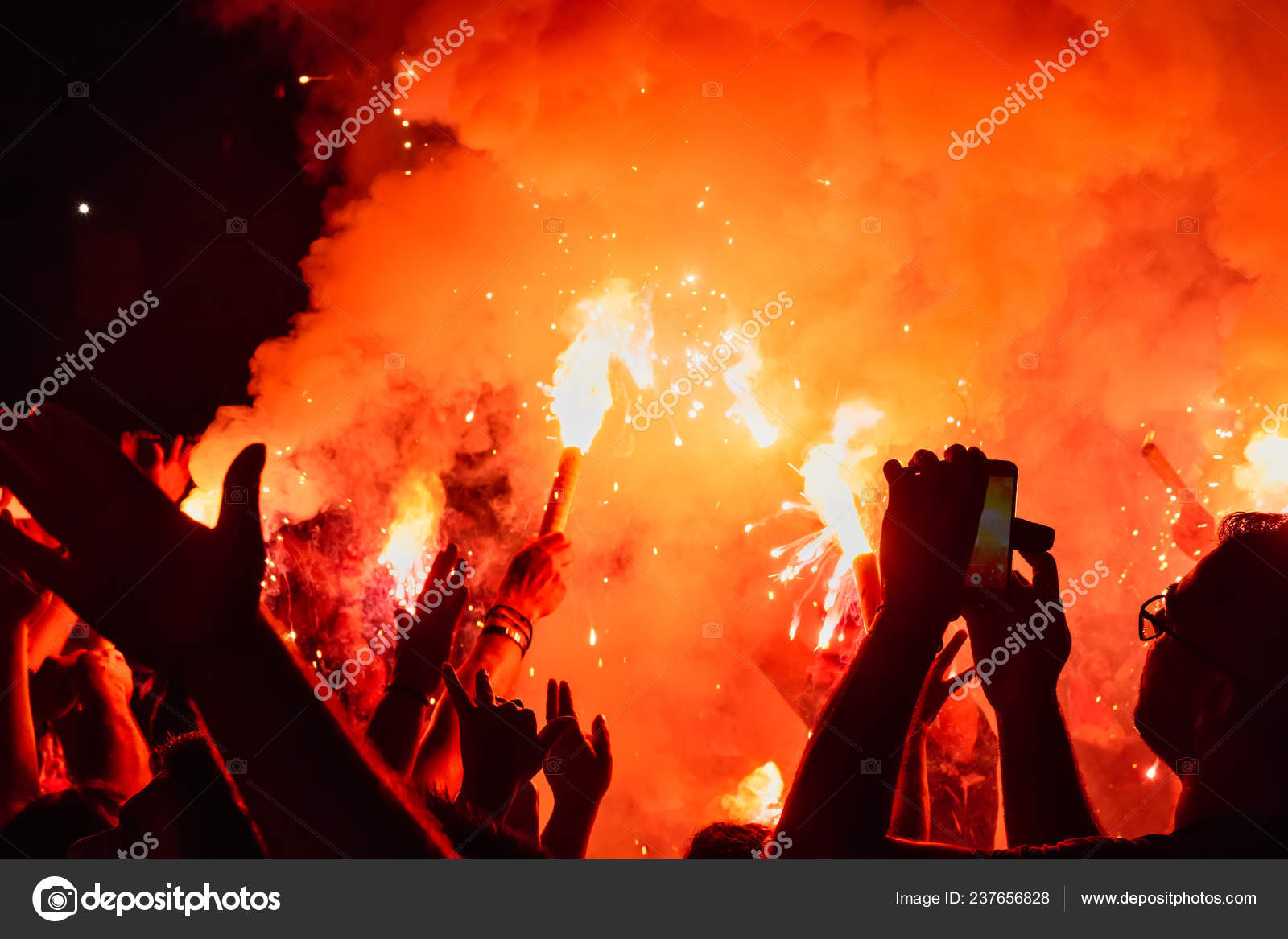 Thessaloniki Greece September 2018 Music Fans Burn Fire Torch Wild