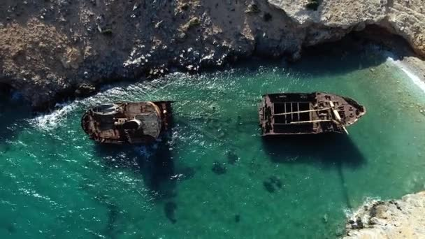 aerial view of Shipwreck Olympia in Amorgos island, Cyclades, Greece