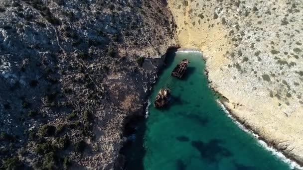 Letecký pohled na Olympia ztroskotání na ostrově Amorgos, Cyclades, Řecko