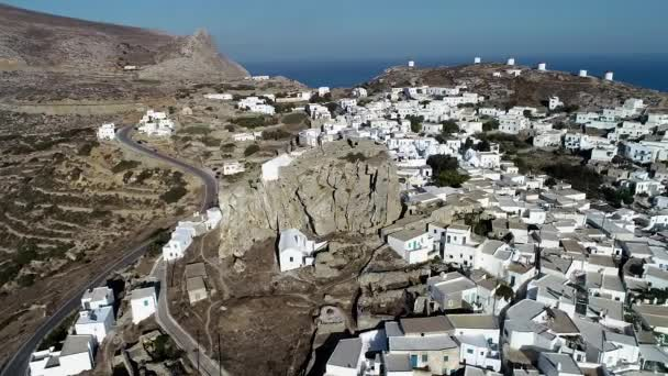 Amorgos island- Aerial view of Chora village. Greece, Cyclade