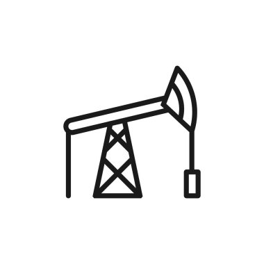 Oil pump jack line icon, outline vector sign, linear style picto