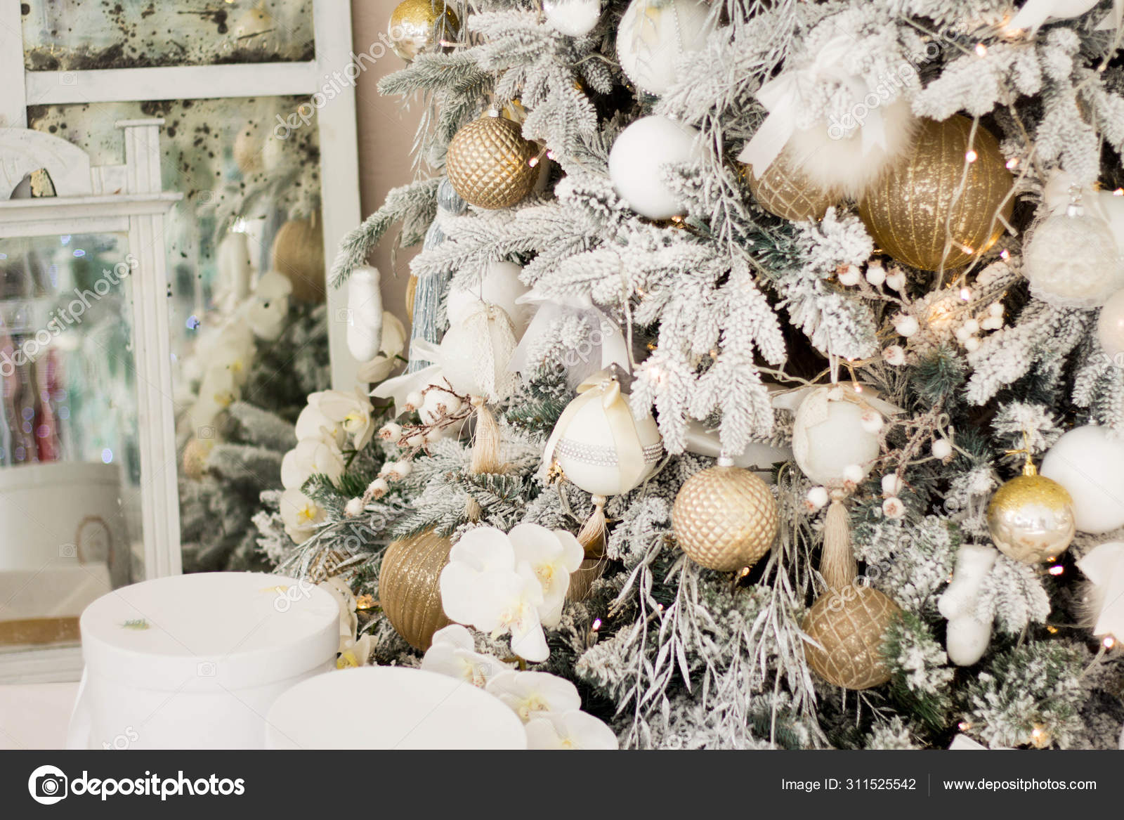 Beautiful Christmas Tree With Festive Gold White Decor Against Blurred Lights On Background Closeup Stock Photo Image By C Misschumakova 311525542