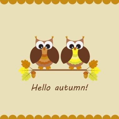 Vector card with autumn theme.