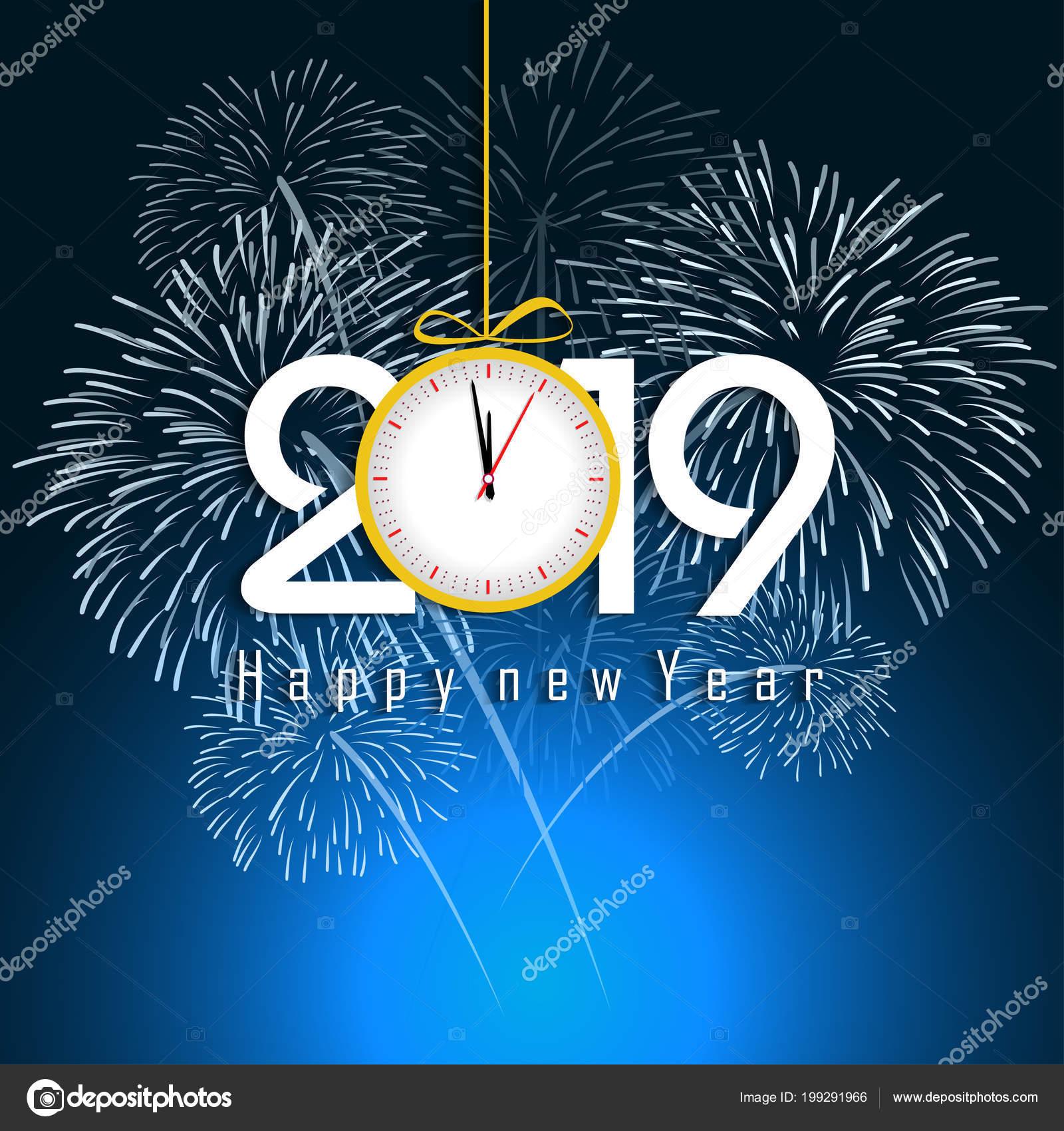 Fuegos Artificiales Mostradas Para Concepto 2019 Ano Nuevo Feliz