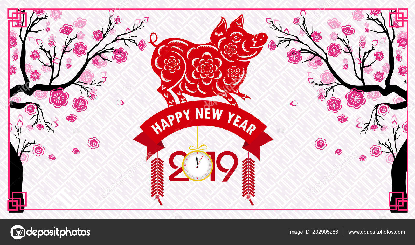 Happy Chinese New Year 2019 Year Pig Lunar New Year ...