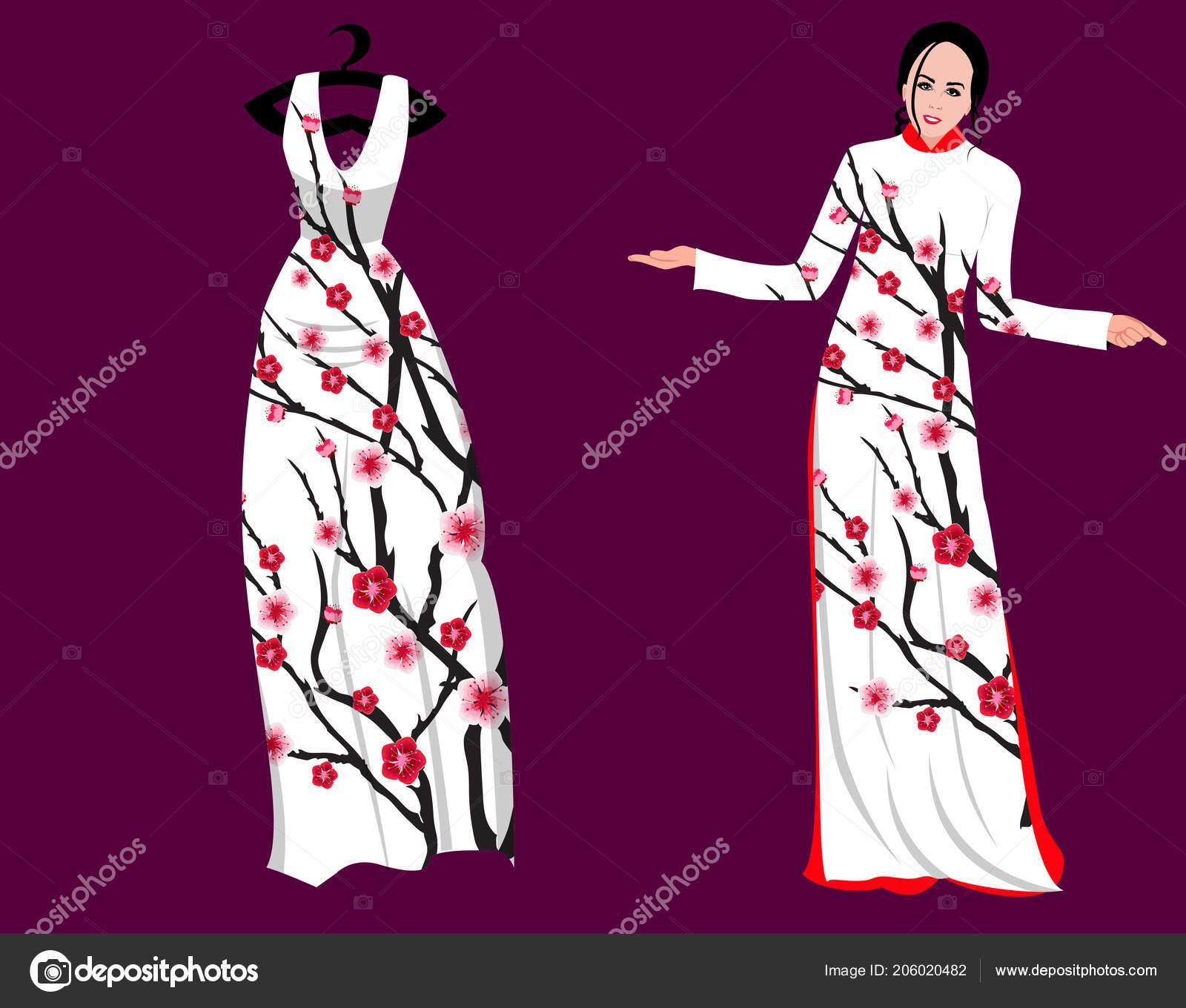 5ef1d6830012 Ανθισμένες κερασιές στο μακρύ φόρεμα για ευτυχισμένος Κινέζοs νέο έτος του  φορέα — Διάνυσμα με ...