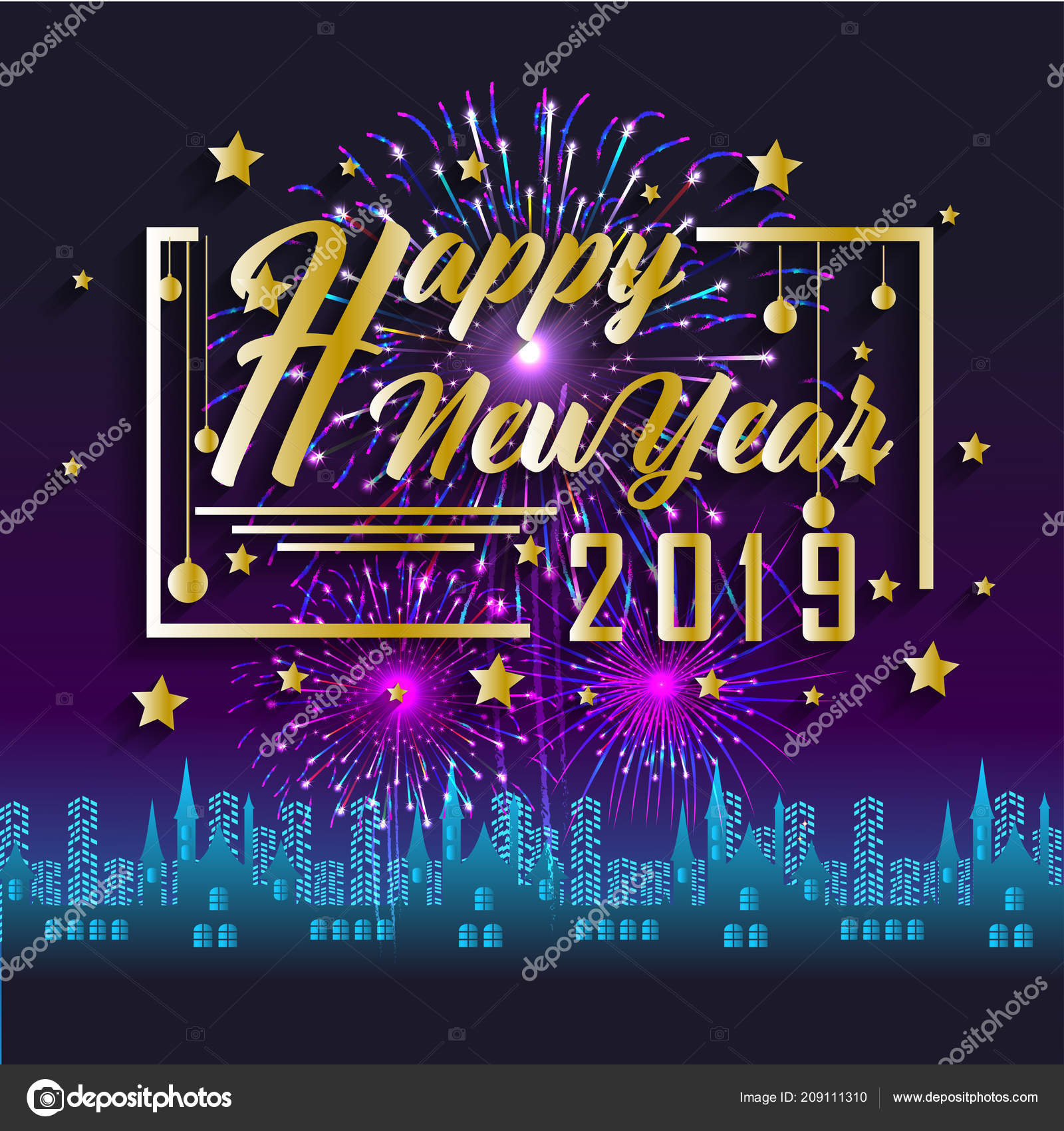 2019 happy new year greeting card with colorful fireworks vector design template vector by tieulong