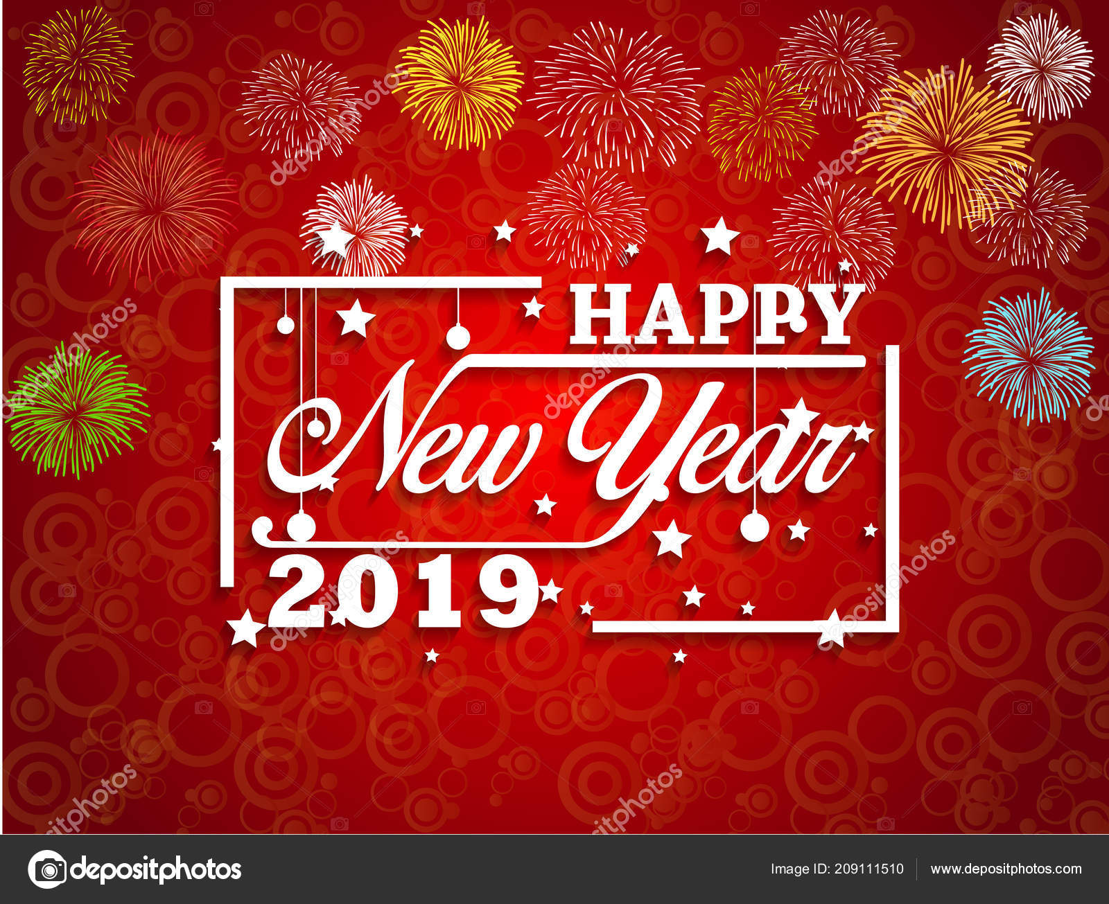 2019 happy new year greeting card colorful fireworks vector design stock vector