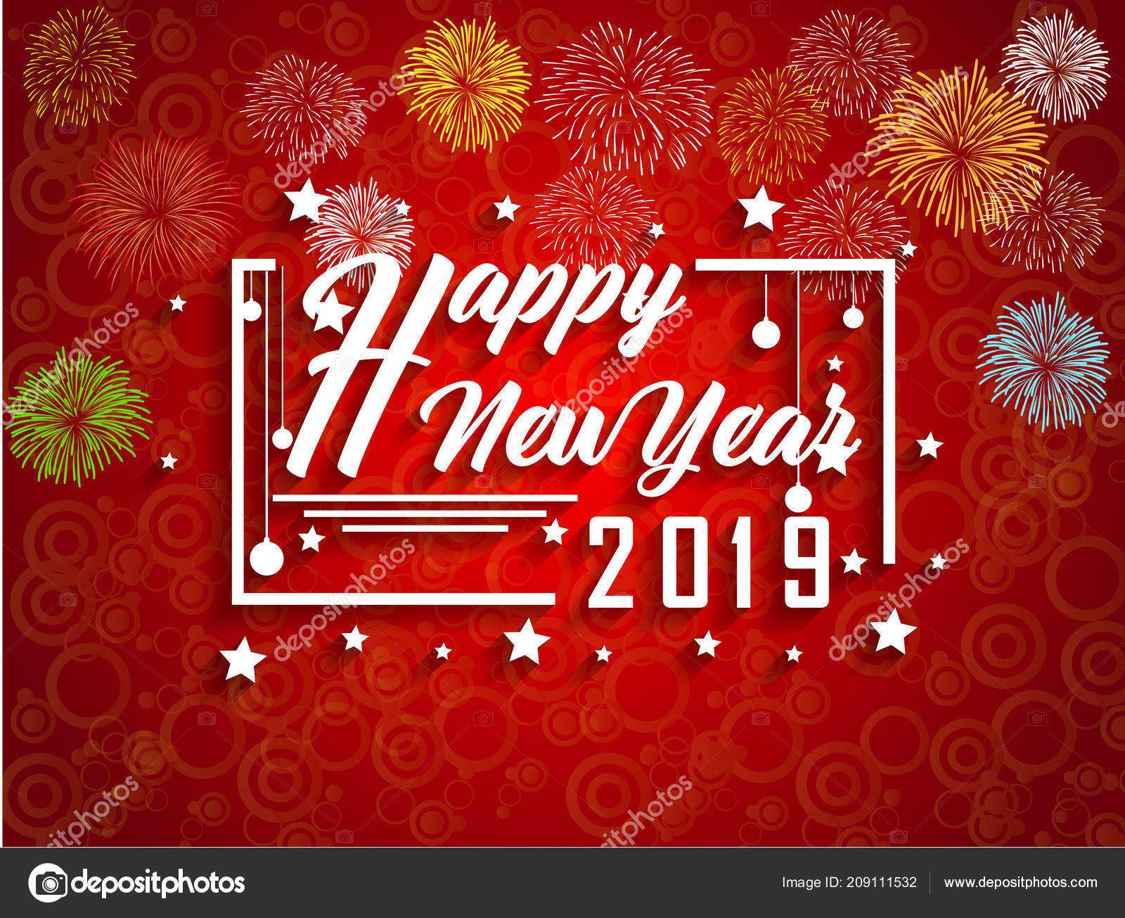 2019 Happy New Year Greeting Card Colorful Fireworks ...
