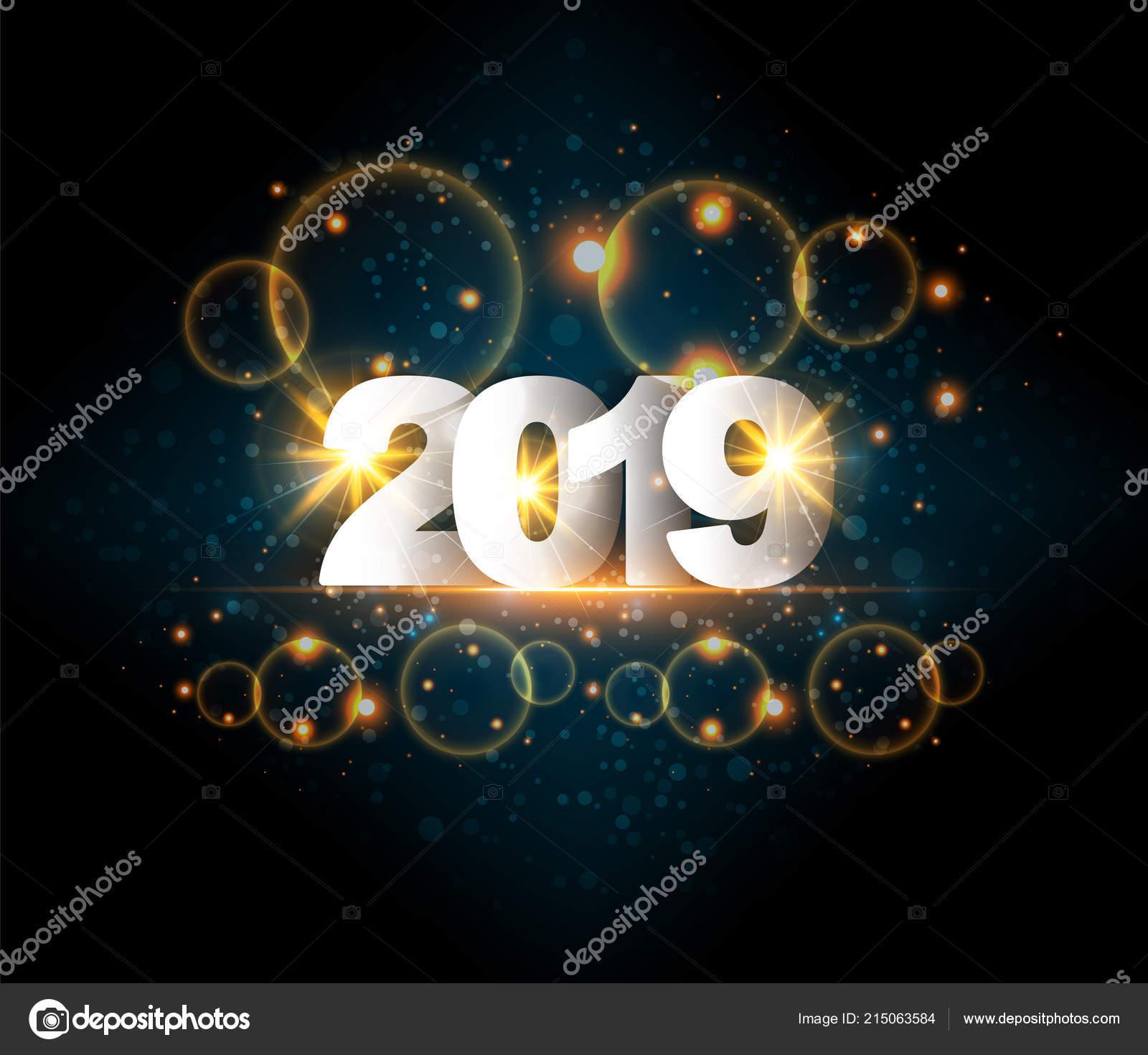 Vettore Buon 2019 Disegno Cartolina Auguri Buon Anno 2019