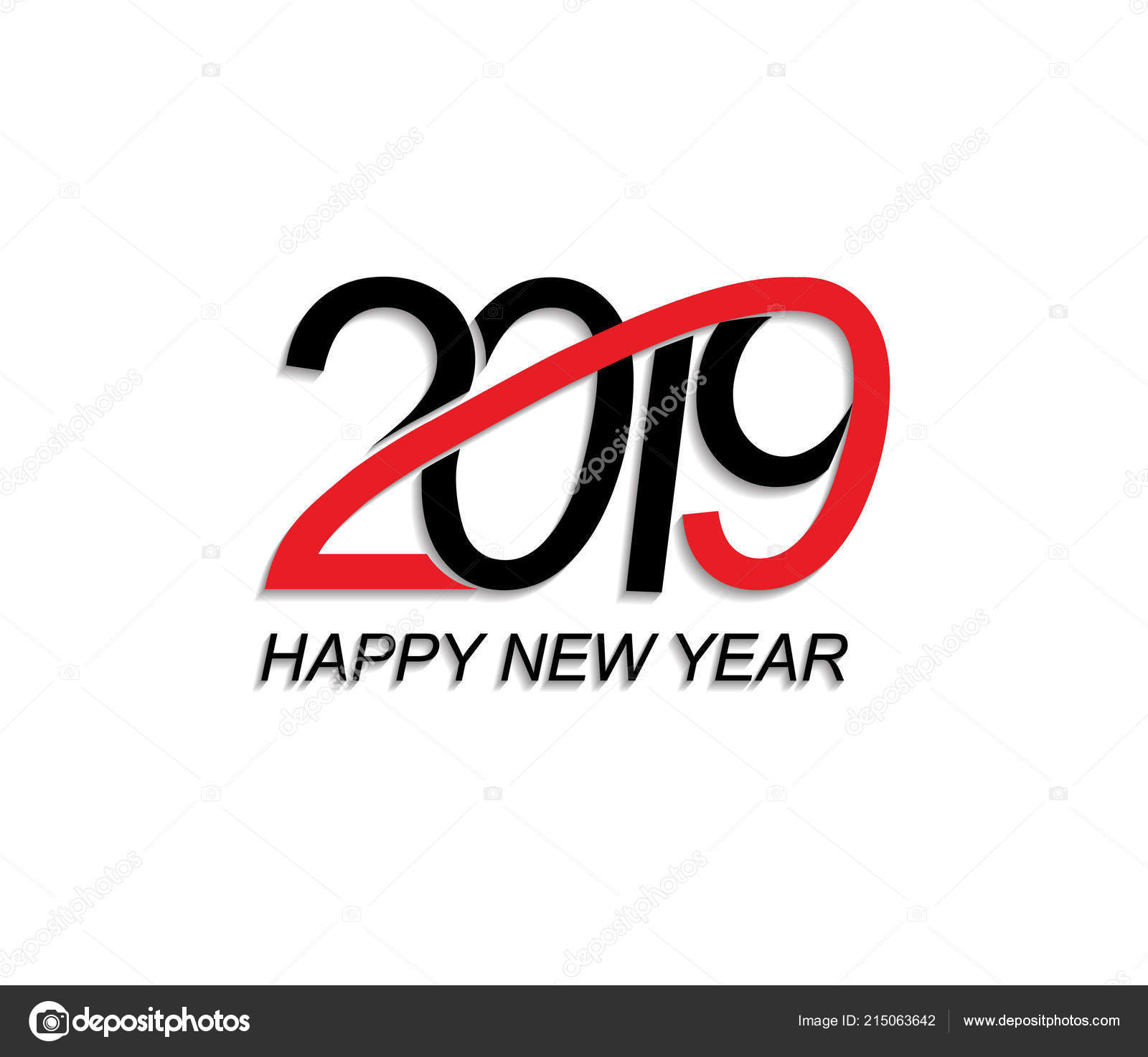 2019 happy new year greeting card vector design template stock vector