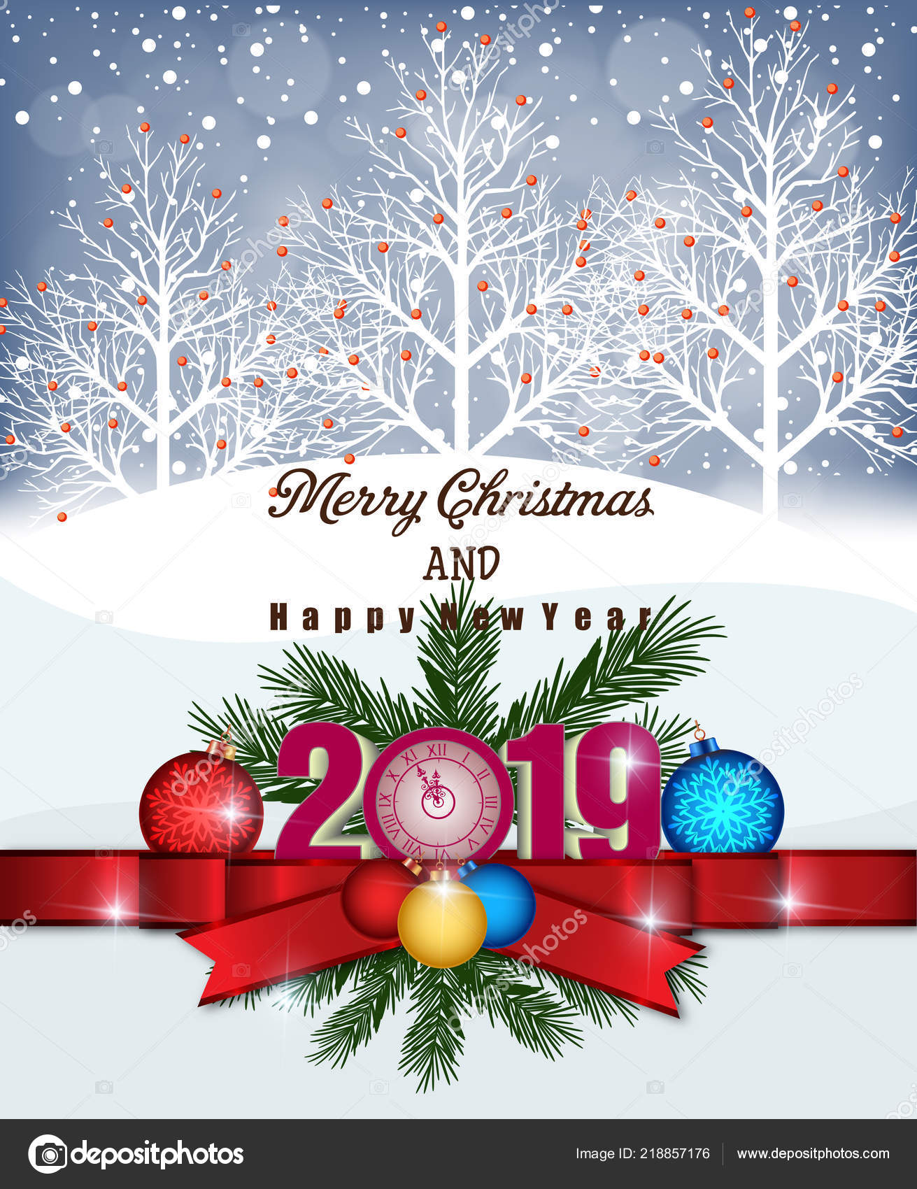 Merry Christmas Happy New Year 2019 — Stock Vector © tieulong #218857176