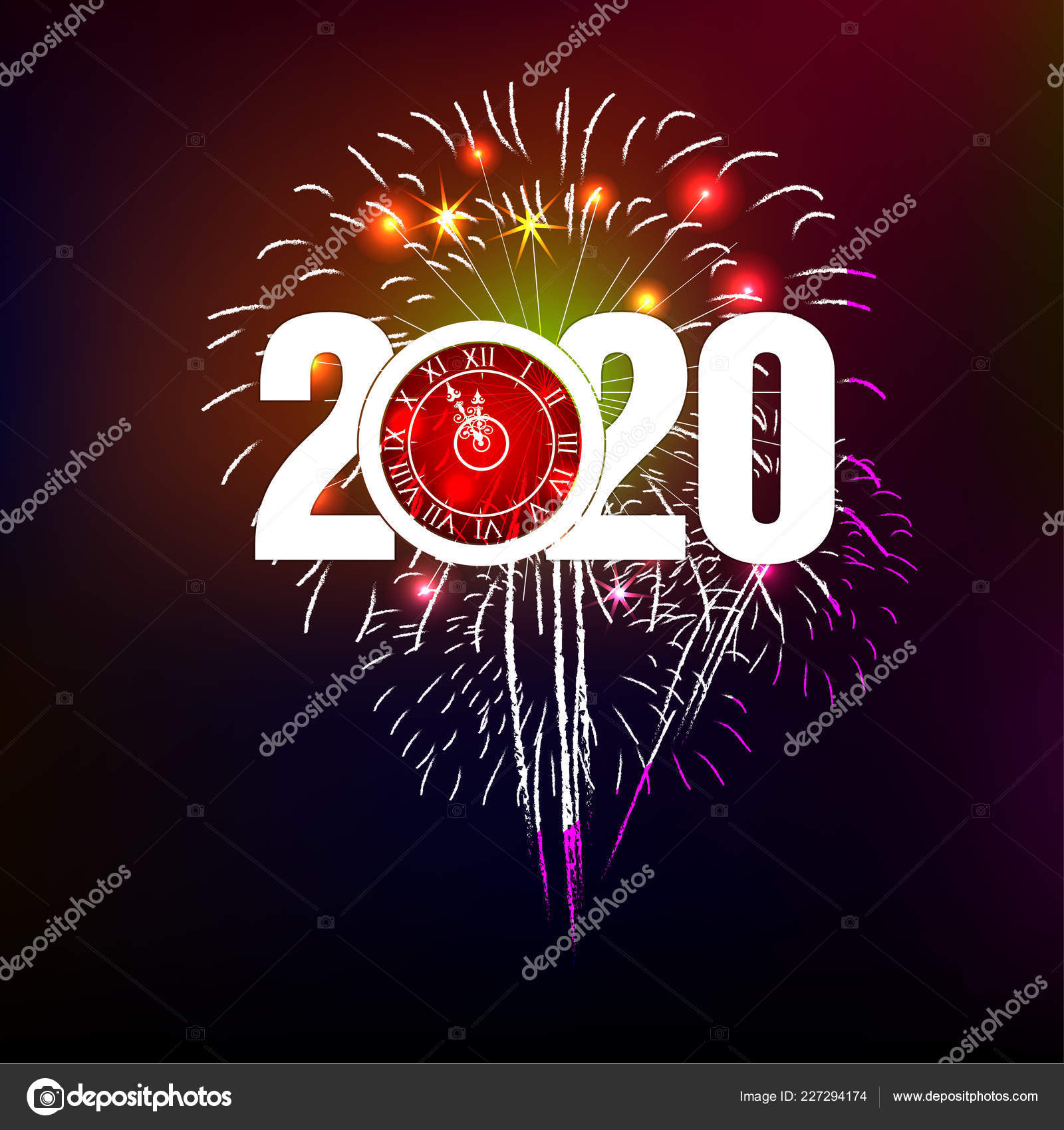 Happy New Year 2020 Background Fireworks Stock Vector