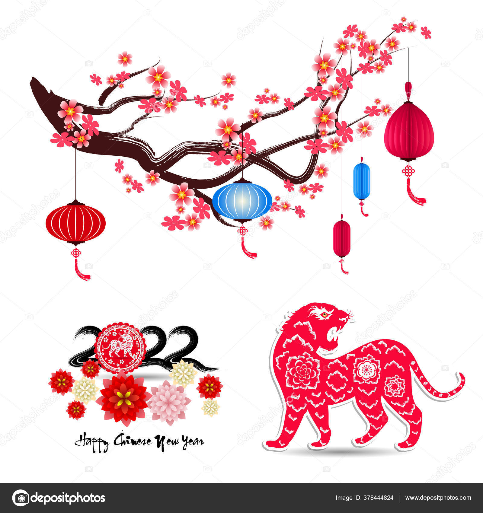 Chinese New Year 2022 Year Tiger Lunar New Year Banner Stock Vector C Tieulong 378444824