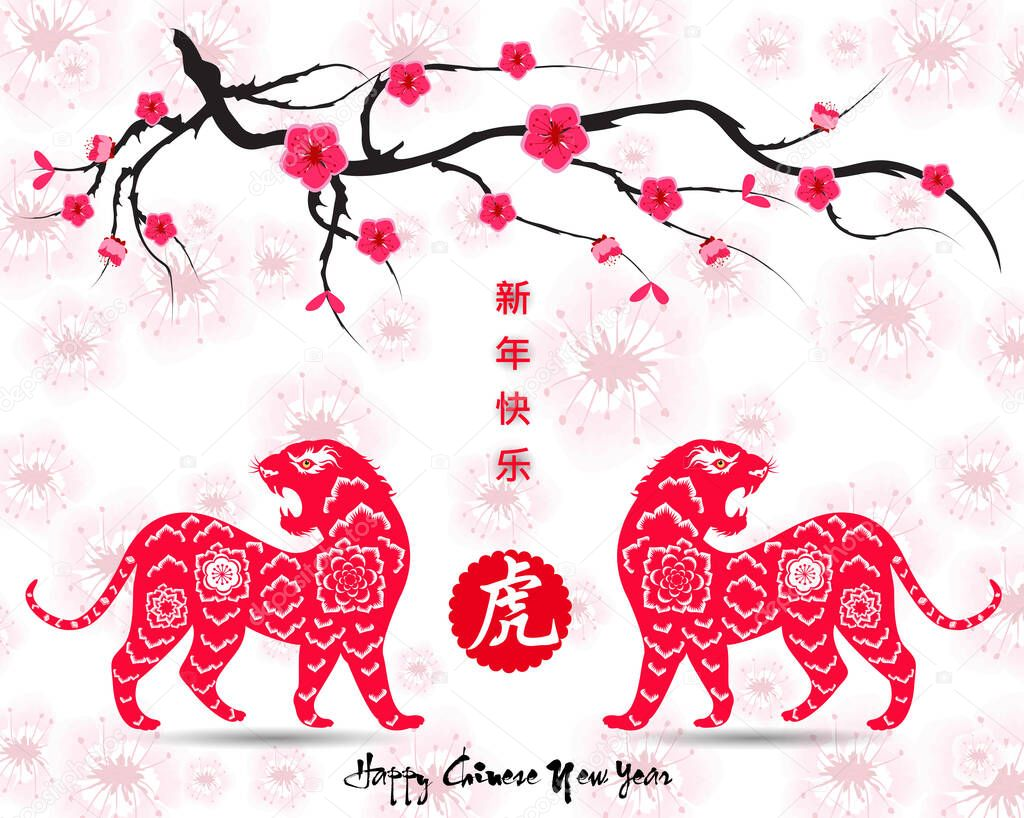 Chinese New Year 2022 Year Of The Tiger Lunar New Year Banner Design Template Zodiac Sign Abstract Flower Texture Horoscope Symbol 2022 Premium Vector In Adobe Illustrator Ai Ai