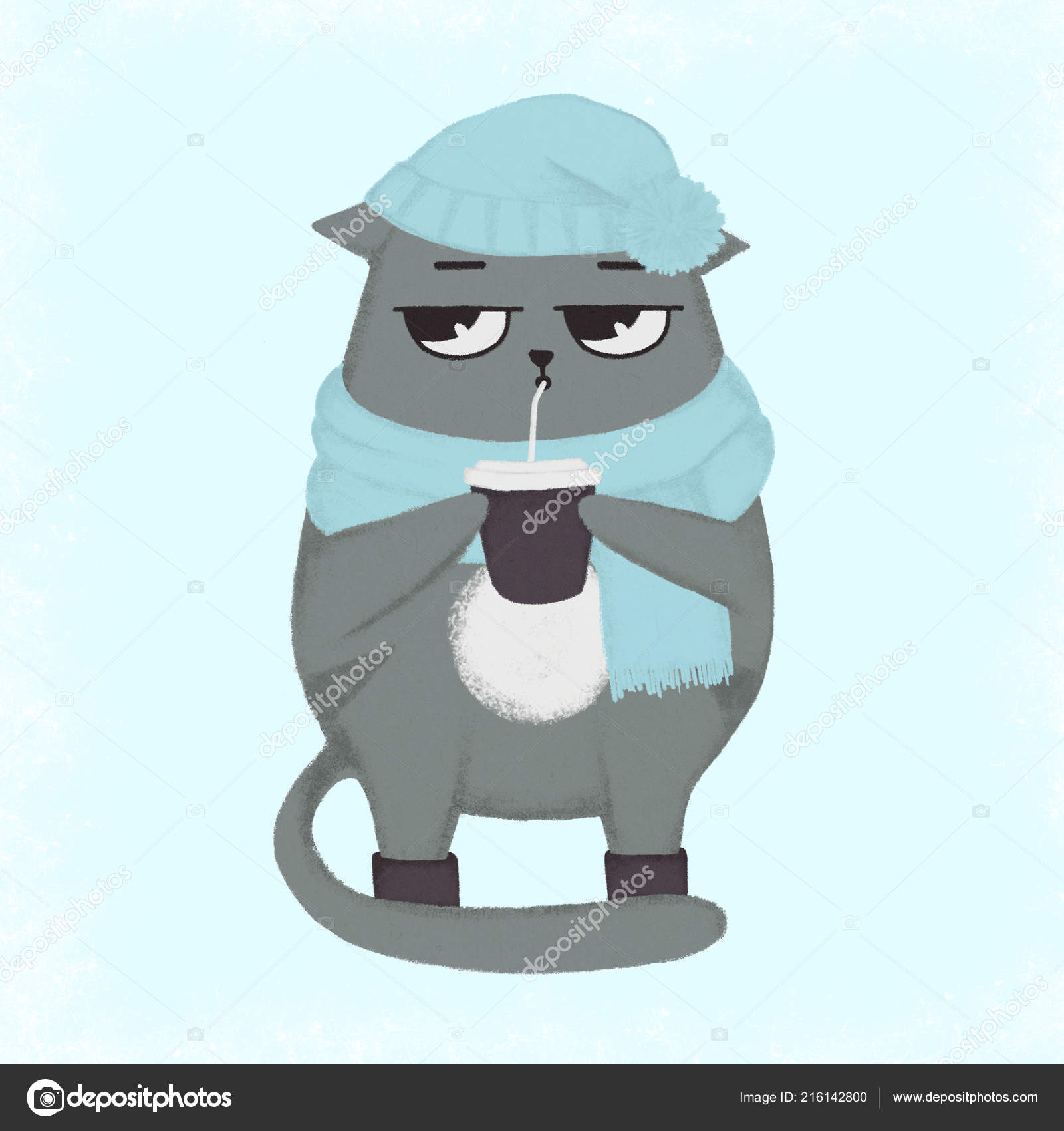 Main de dessin animé mignon aspiré chat Bonnet en laine avec pompon et  foulard zébré avec une tasse de café. Chat tenant une coupe\u2013 images de  stock libres