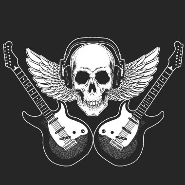 Rock music festival. Cool print with skull and headphones for poster, banner, t-shirt. Guitars, wings