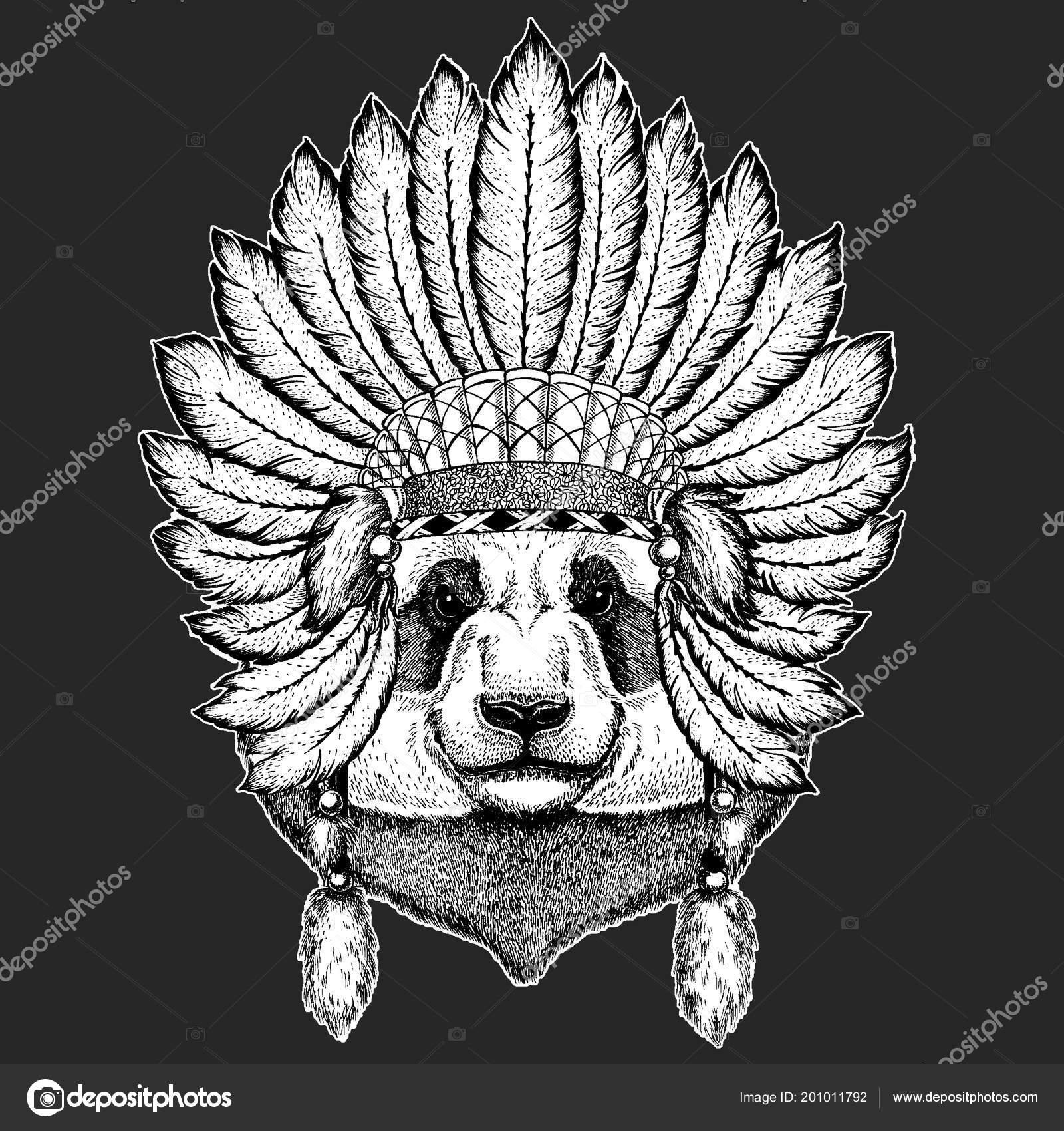 5b98f7f204a1d Traditional ethnic indian boho headdress Tribal shaman hat Ceremonial  element — · Bear, bamboo bear. Hand drawn image for tattoo, emblem, badge,  ...