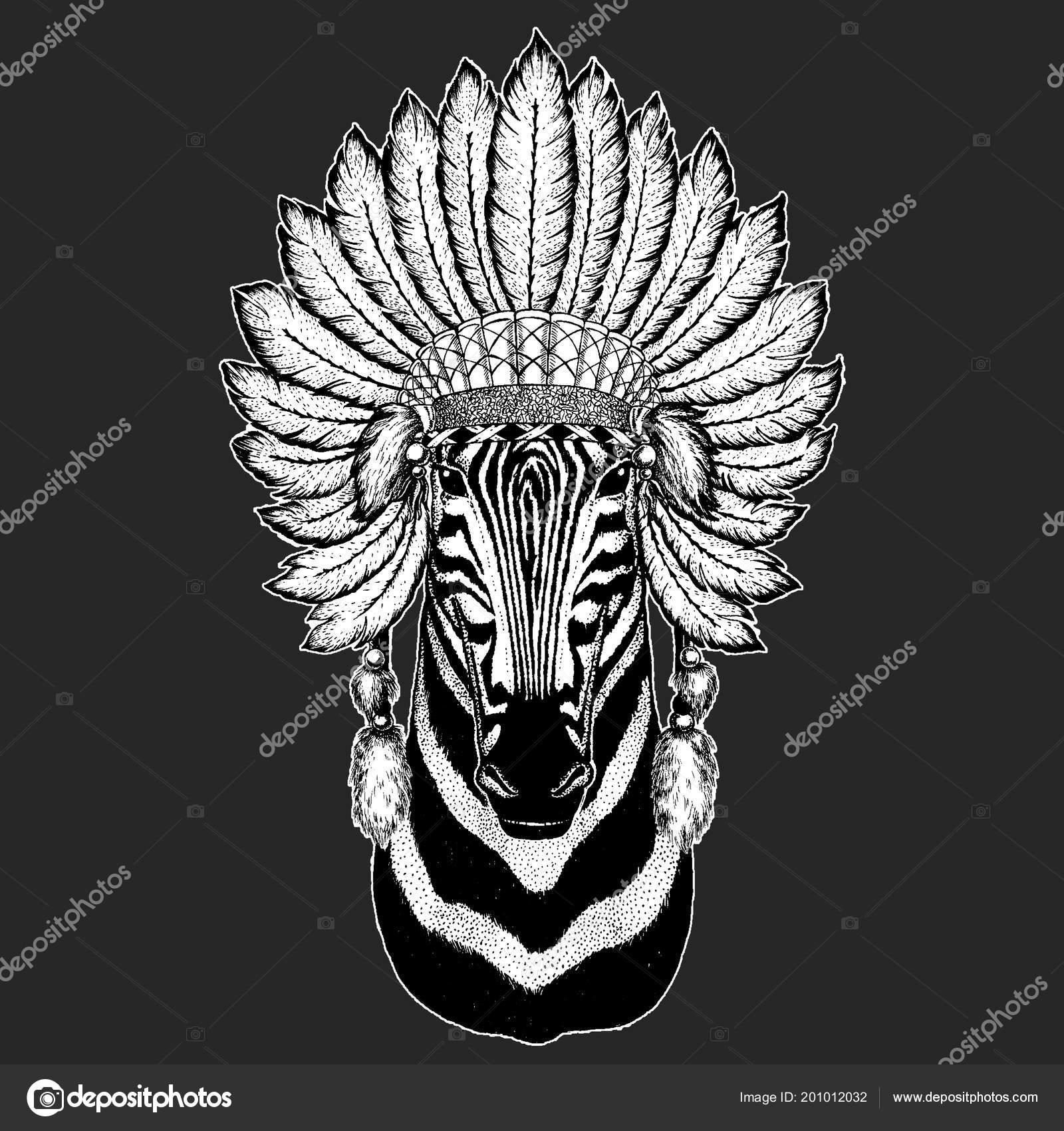 8694e2f9946 Zebra Horse Traditional ethnic indian boho headdress Tribal shaman hat  Ceremonial element — Stock Vector