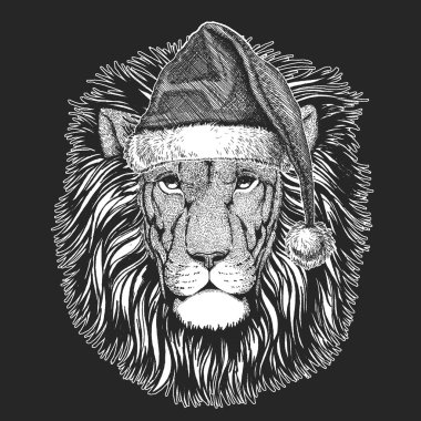 Wild cat. Lion Christmas, new year celebration. Santa Claus winter hat. Xmas headdress.