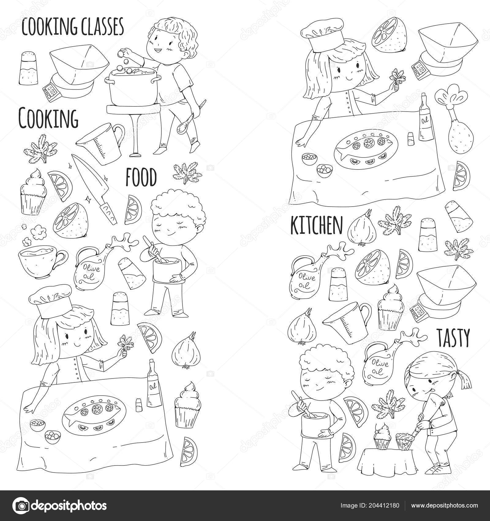 Página Para Colorear Para El Libro Utensilios De Cocina Clase De