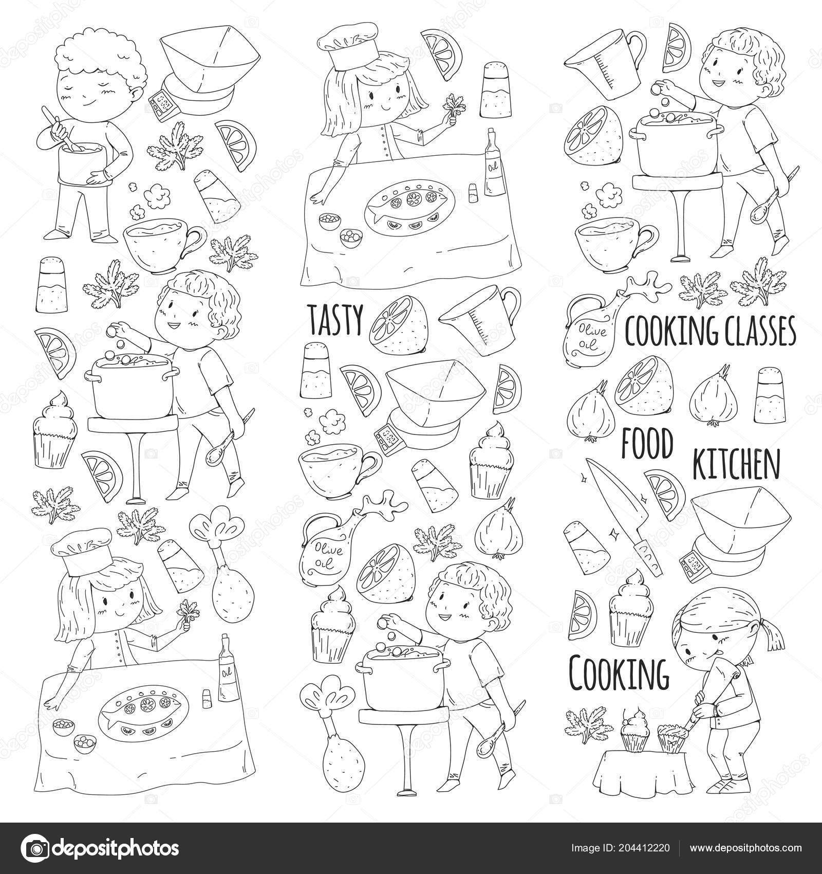 Pagina da colorare per il libro. Utensili da cucina. Lezione di ...
