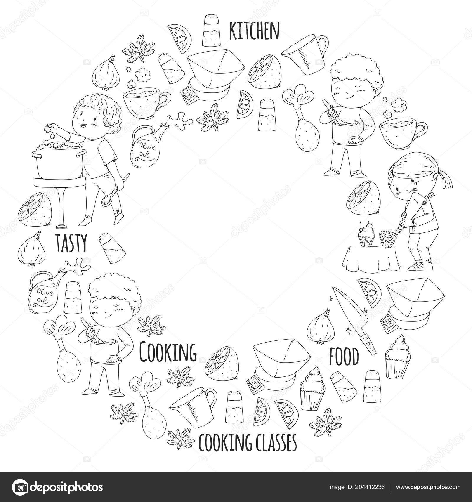 Kitap Için Boyama Sayfası Mutfak Eşyaları Yemek Kursuna çocuklar
