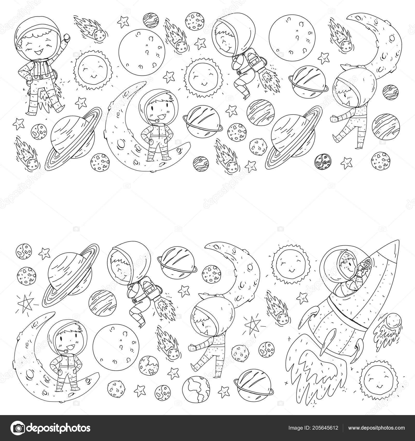 Alan çocuklar Için Boyama Sayfası Kitap çocuklar Ve Cosmos Keşif