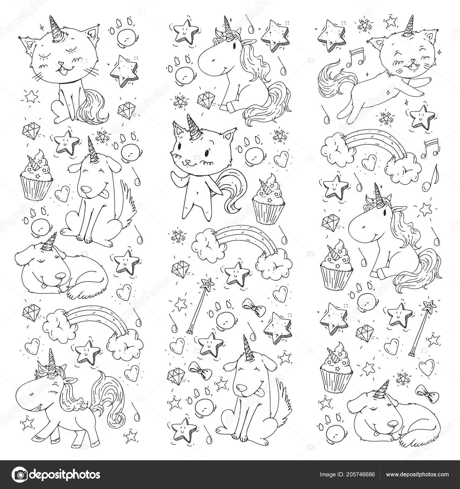 Unicorn Cats Dog Horse Pony Vector Image Coloring Page For