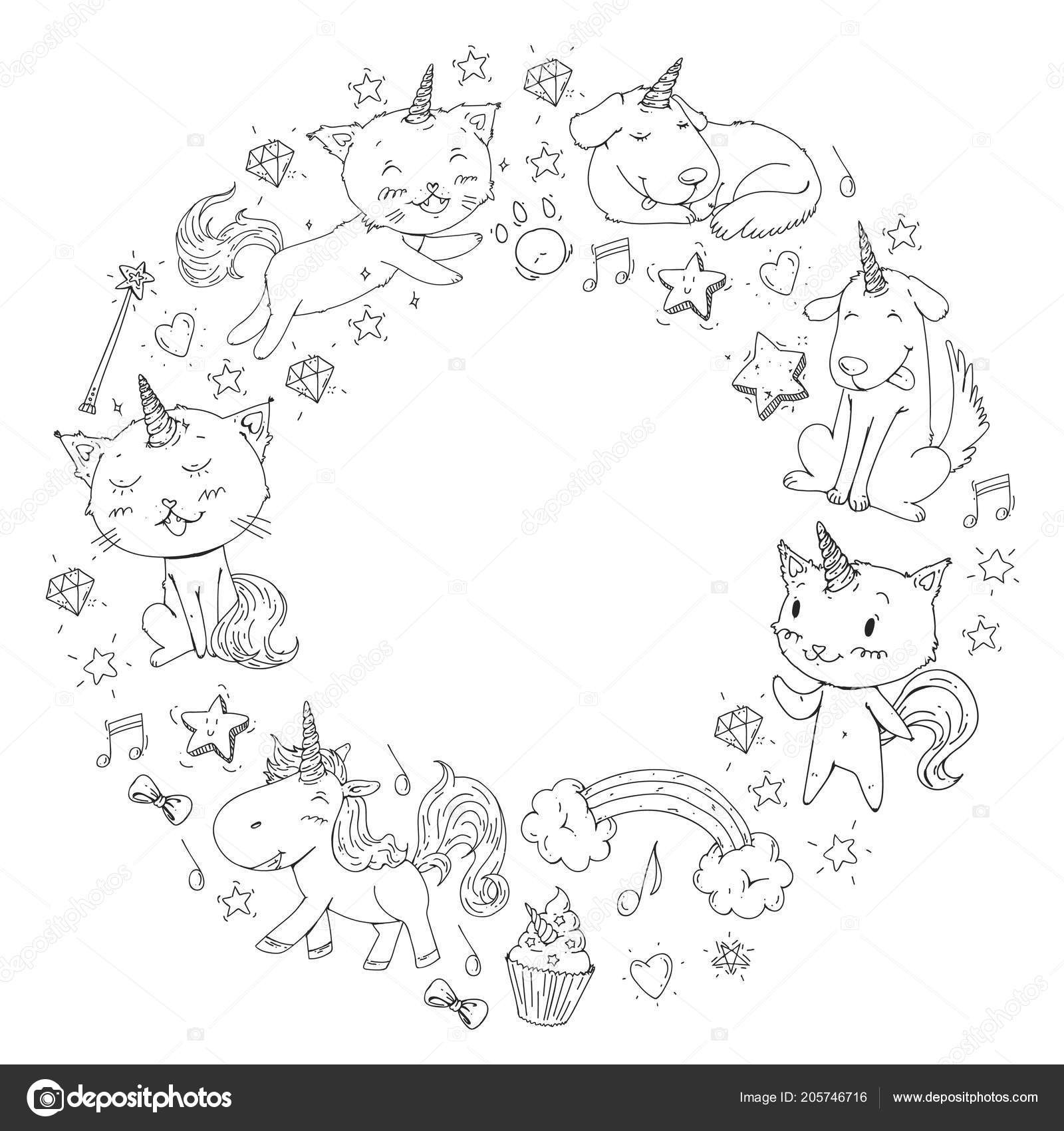 Unicorn frame. Cats, dog, horse, pony. Vector image. Coloring page ...