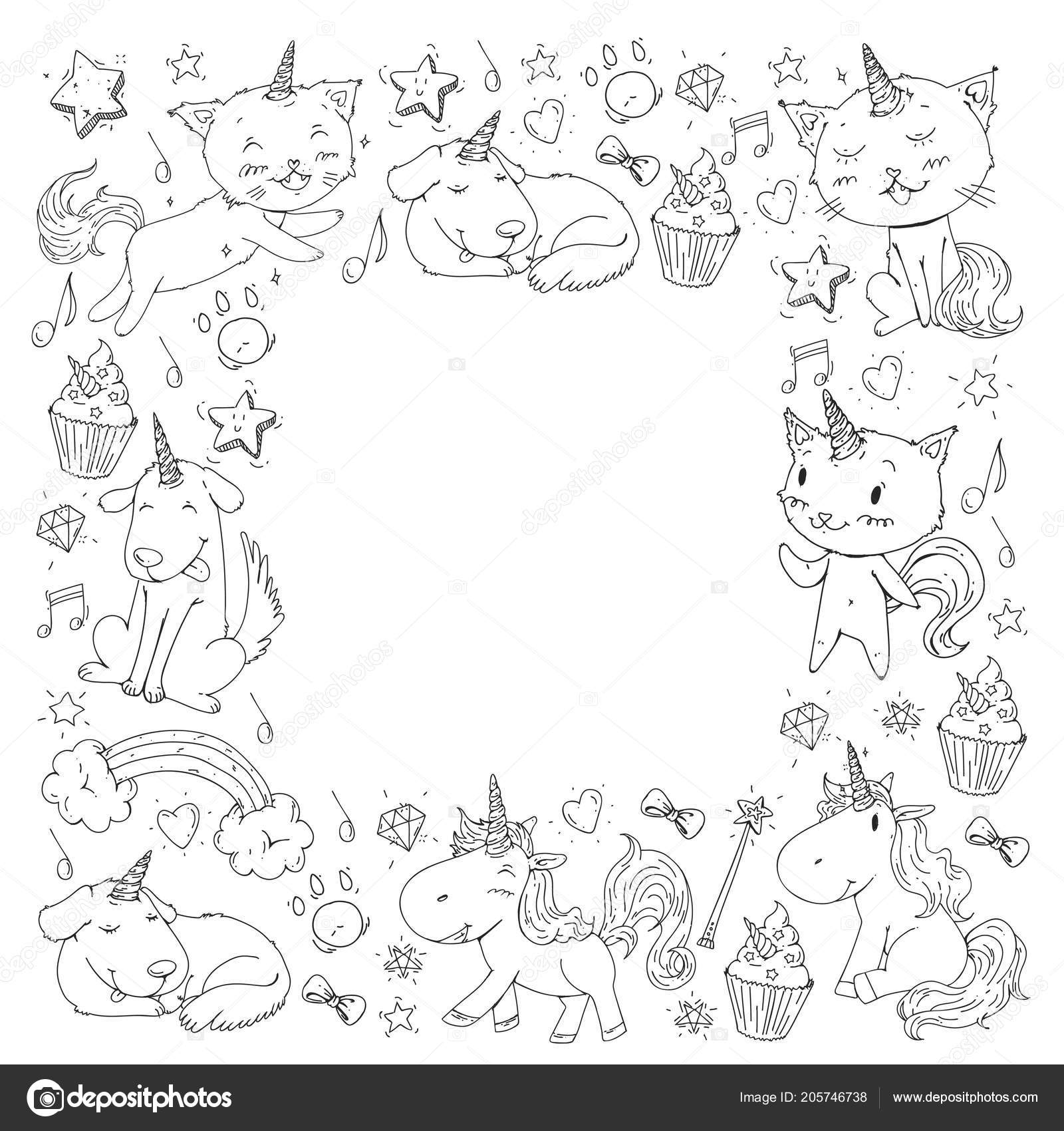 Unicorn Cats Dog Horse Pony Coloring Page Children Kindergarten ...