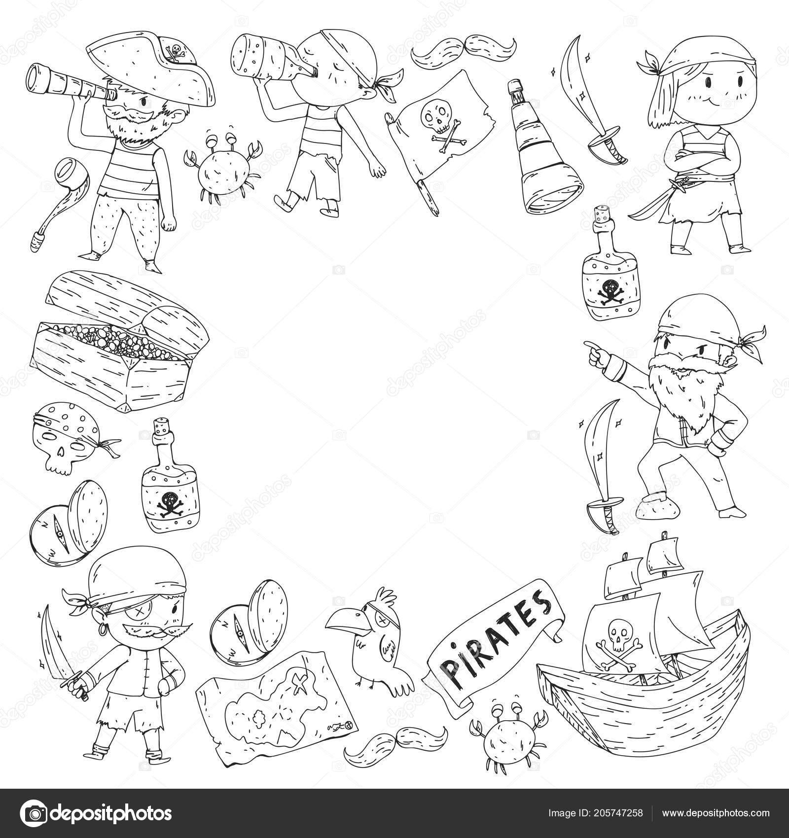 раскраска с пиратами пират море партии фон для детей