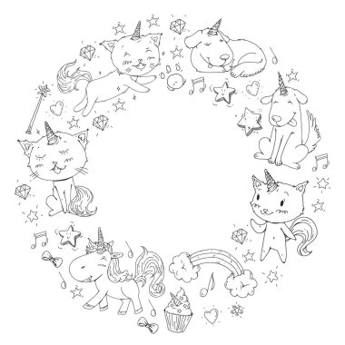 Unicorn frame. Cats, dog, horse, pony. Vector image. Coloring page for children book. Kindergarten background for banners, clothing, posters.