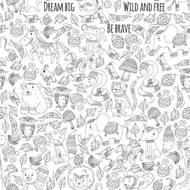 "Картина, постер, плакат, фотообои ""Pattern with cute forest and jungle animals. Fox, tiger, lion, zebra, bear, bird, parrot, snake, squirrel, elephant, monkey, owl. Tribal boho wild and free icons for little kindergarten children"", артикул 205748324"