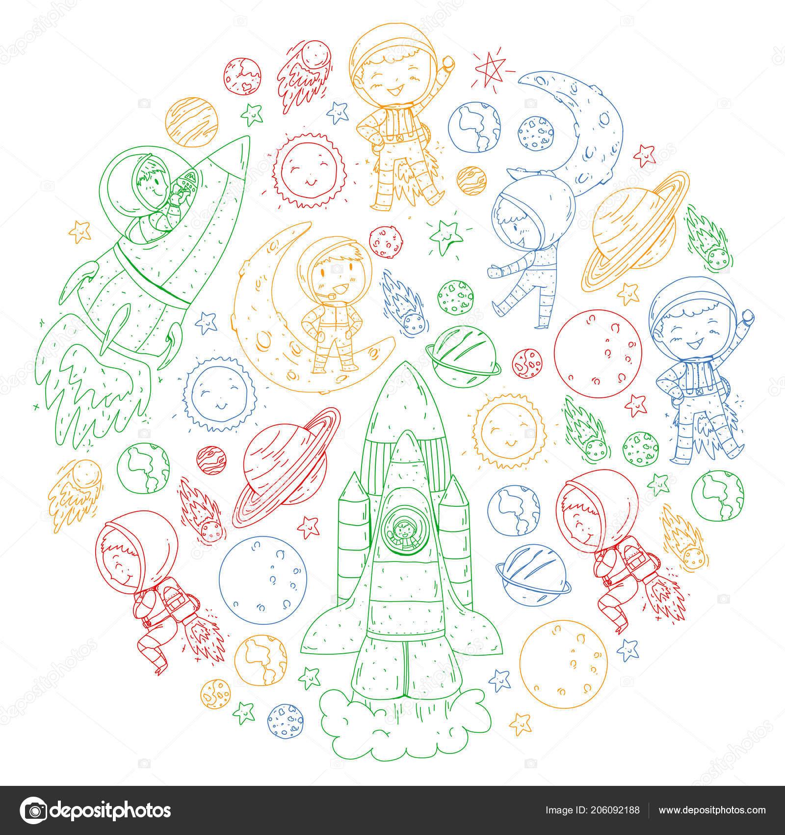 Alan çocuklar Için Boyama Sayfası Kitap çocuklar Cosmos Keşif Macera