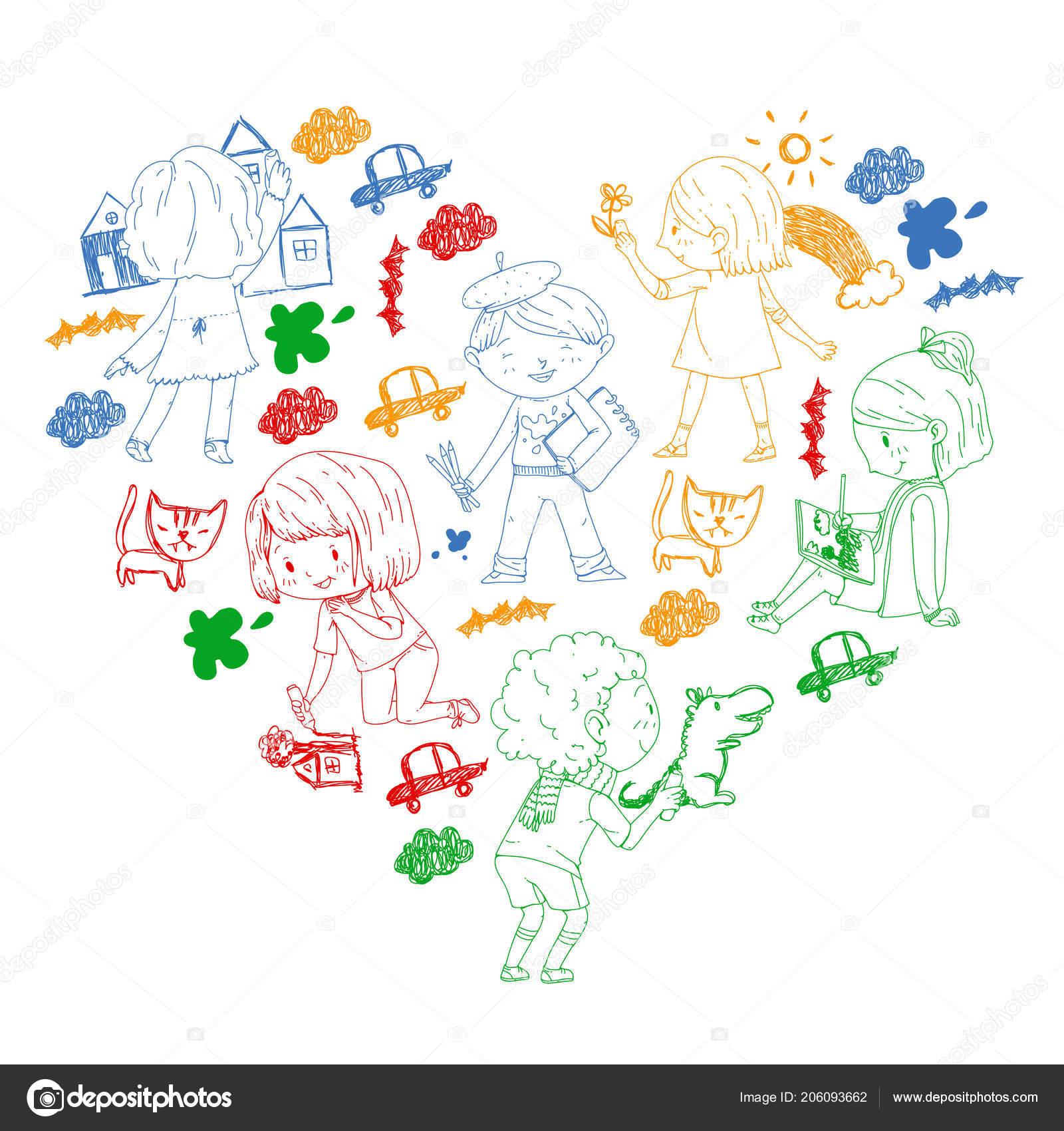 çocuk Boyama Okulu Ve Anaokulu çocukları Yaratıcı Sınıf Eğitim