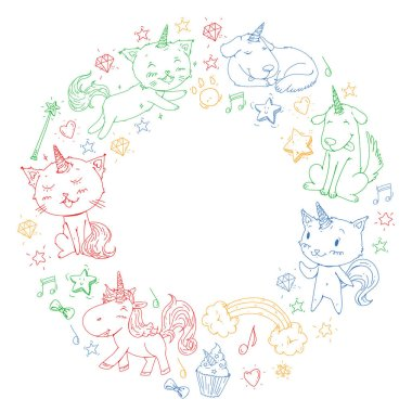Vector unicorns. Caticorn. Cat, dog, pony with horn and rainbow. Fantasty vector icons. Cute kindergarten pattern for little children. Princess fairy tale.