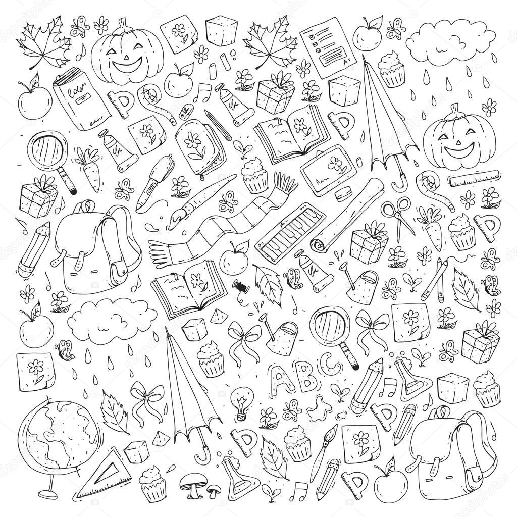 Vector seamless pattern with school and education icons.