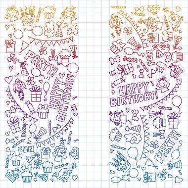 "Картина, постер, плакат, фотообои ""Vector pattern for birthday party for little kindergarten, school children."", артикул 238967154"