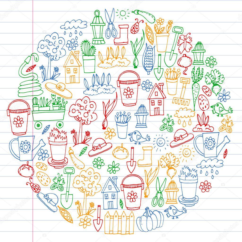 Garden, agriculture, garden tools, equipment, harvest. Icons of gardening items.