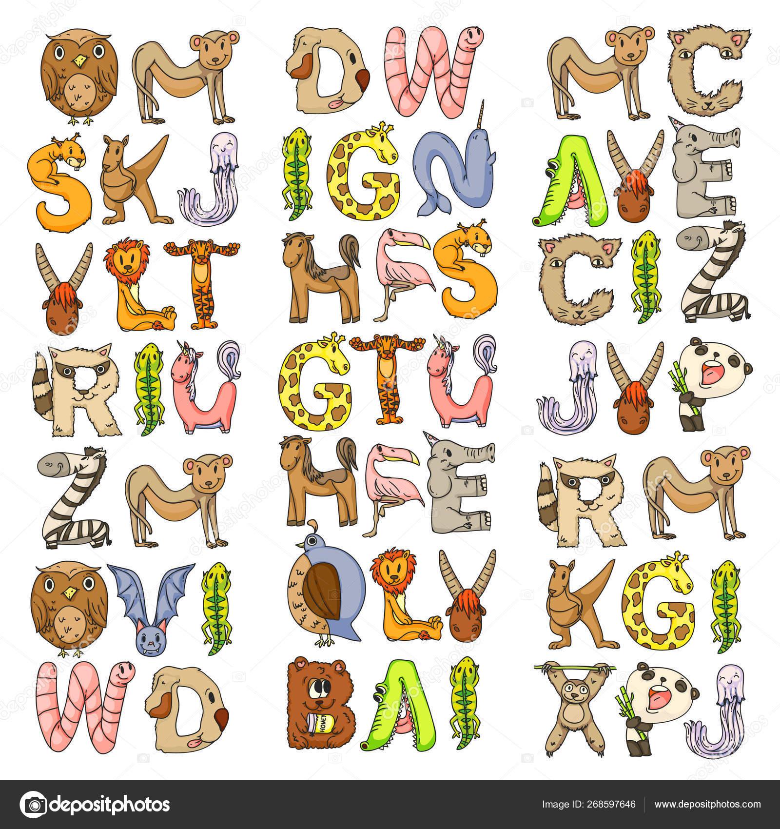 Animal alphabet  Letters from A to Z  Flamingo, giraffe