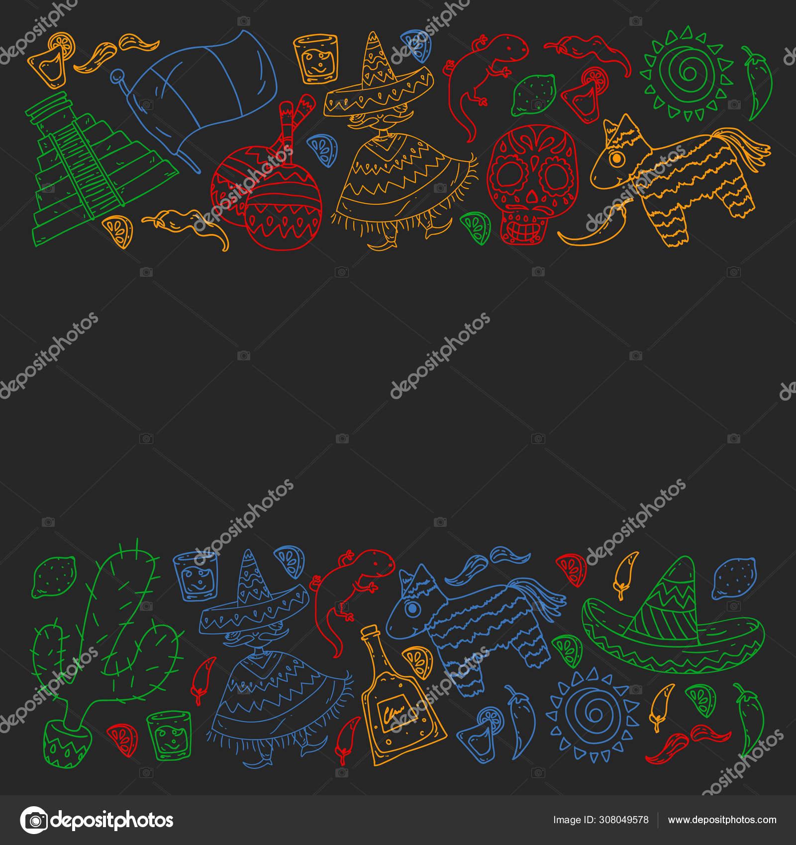 前往墨西哥 矢量设置与壁纸 背景的种族elemes 死亡日 图库矢量图像