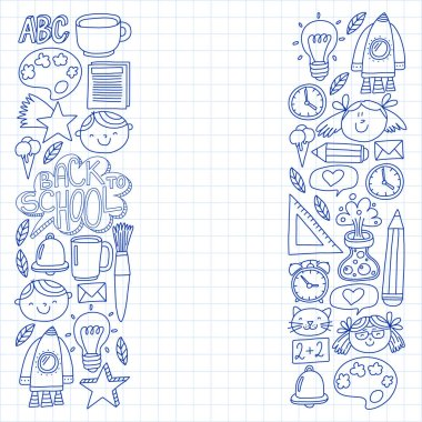 Vector pattern with back to school icons for posters, banners, covers. Kids, children education.