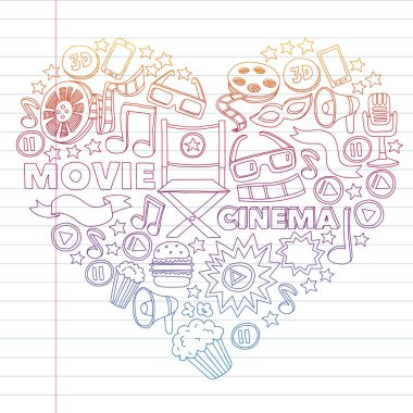 Cinema, movie. Vector film symbols and objects