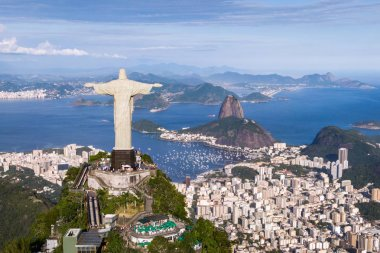 Aerial view of Christ the Redeemer and Sugarloaf Mountain, Rio de Janeiro, Brazil.