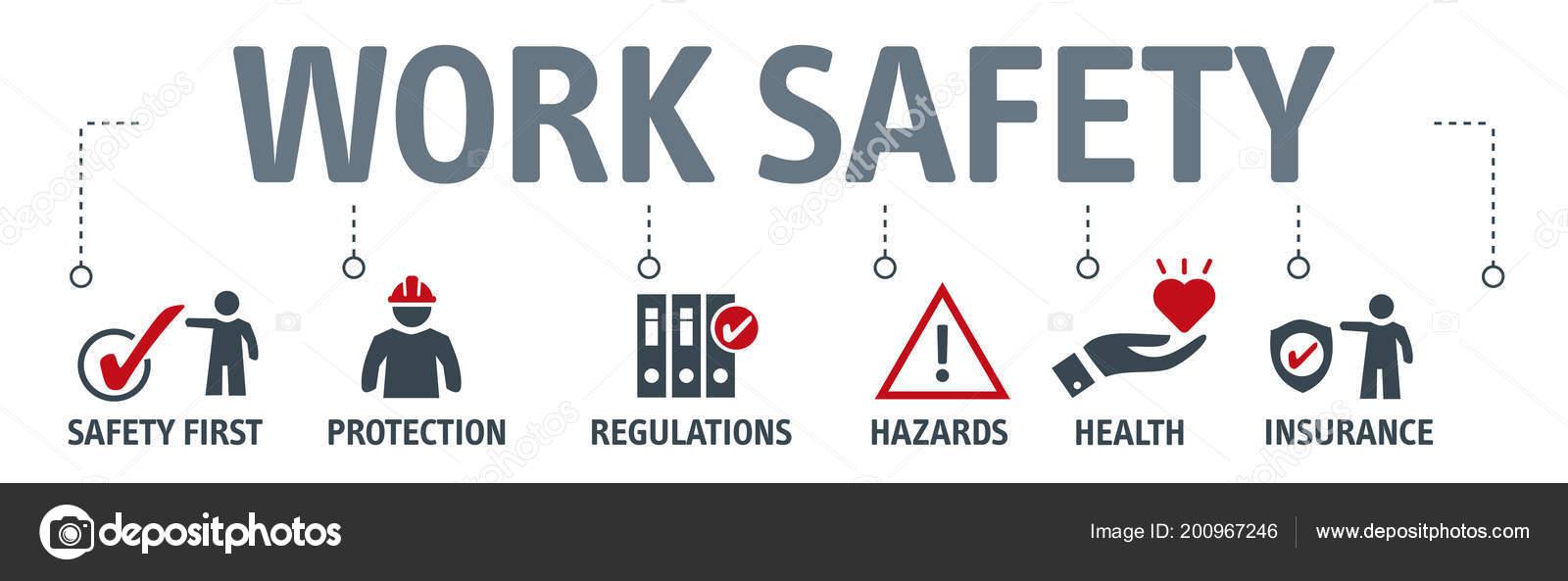 Banner Work Safety Concept Hazards Protections Health Regulations Keywords Icons Stock Vector C Trueffelpix 200967246