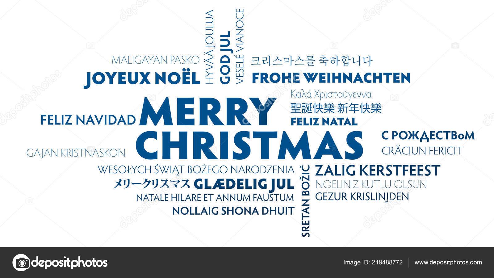 Frohe Weihnachten Word Cloud Verschiedenen Sprachen Blauweißen
